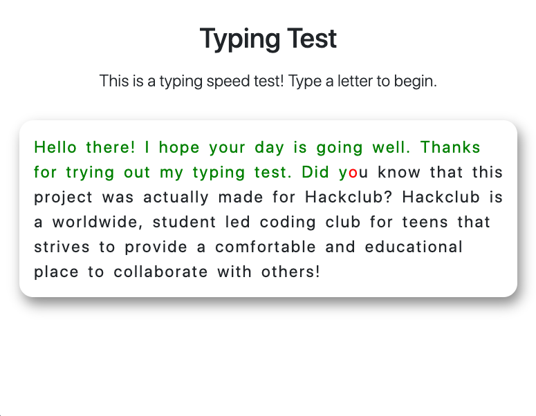 JavaScript Typing Test demo